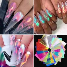 20pcs Fire Holographic Nail Sticker Leaf Adhesive Decal Thin Laser Stripe DIY Art Manicure Foil Flame