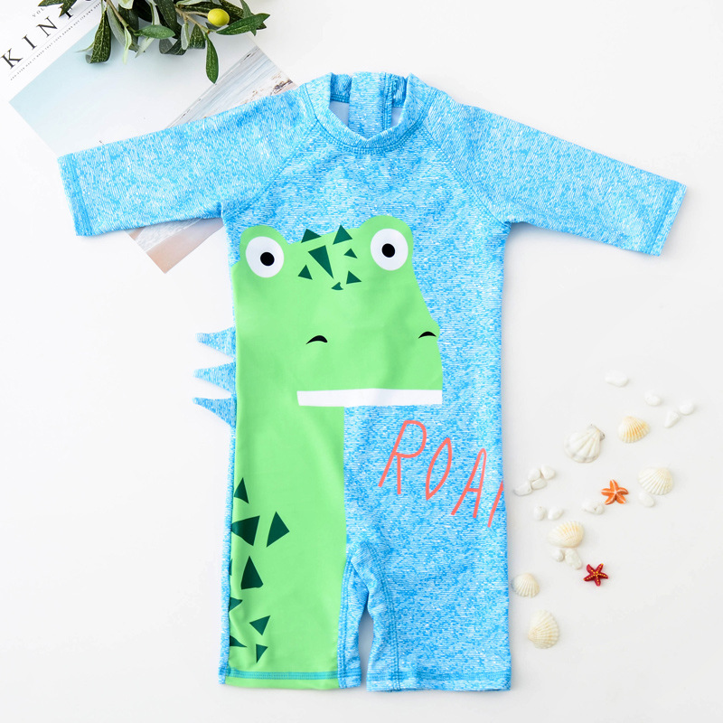 KID'S Swimwear BOY'S Cute Dinosaur One-piece Swimming Suit Infant Baby Quick-Dry Sun-resistant Tour Bathing Suit With Cap