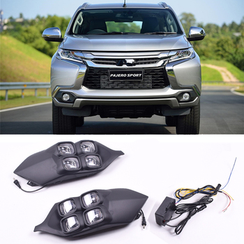 Car-styling Turn signal Function DRL LED Daytime Running Lights for Pajero Sport 2016 2017 Replace orignal Fog Lamp Covers Hole