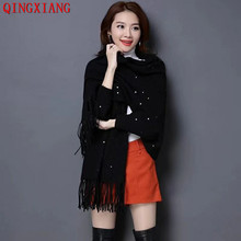 2019 Outside Street Wear Solid Shinny Crystal Scarf Winter Luxury Cashmere Poncho Women Female Long Sleeves Cloak Vintage Shawl