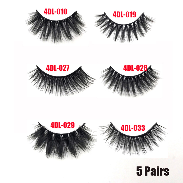 5Pairs/Set Faux Mink Hair False Eyelashes Wispy Criss-cross Fluffy Thick Natural Handmade Lash Cruelty-free Eye Makeup Tools 6