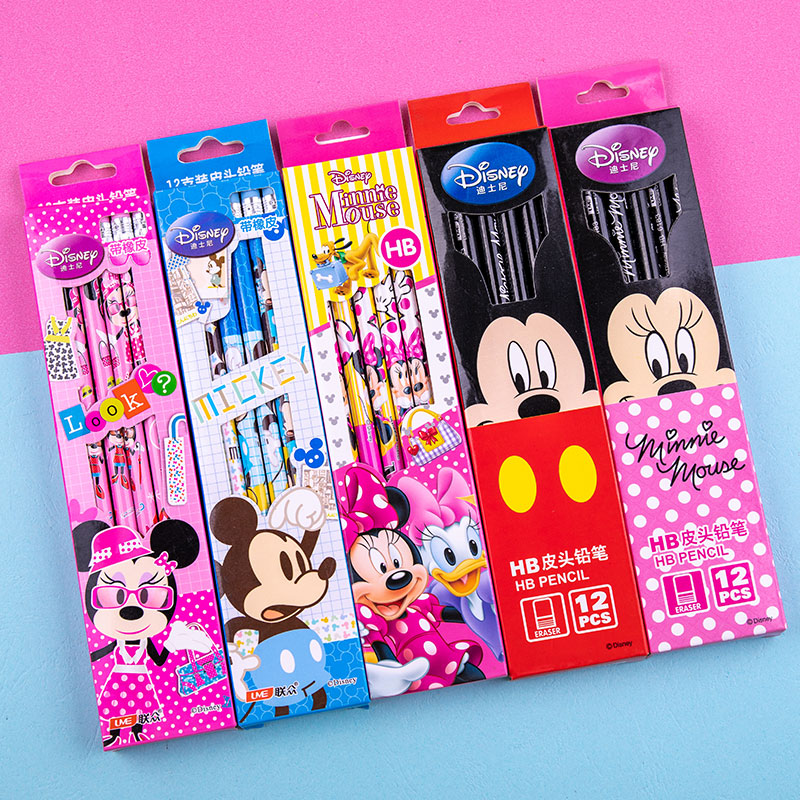 Mickey Minnie Cartoon Stationery Ordinary Pencil Disney Princess Writing And Painting Tools School Supplies Boy Girl Gift