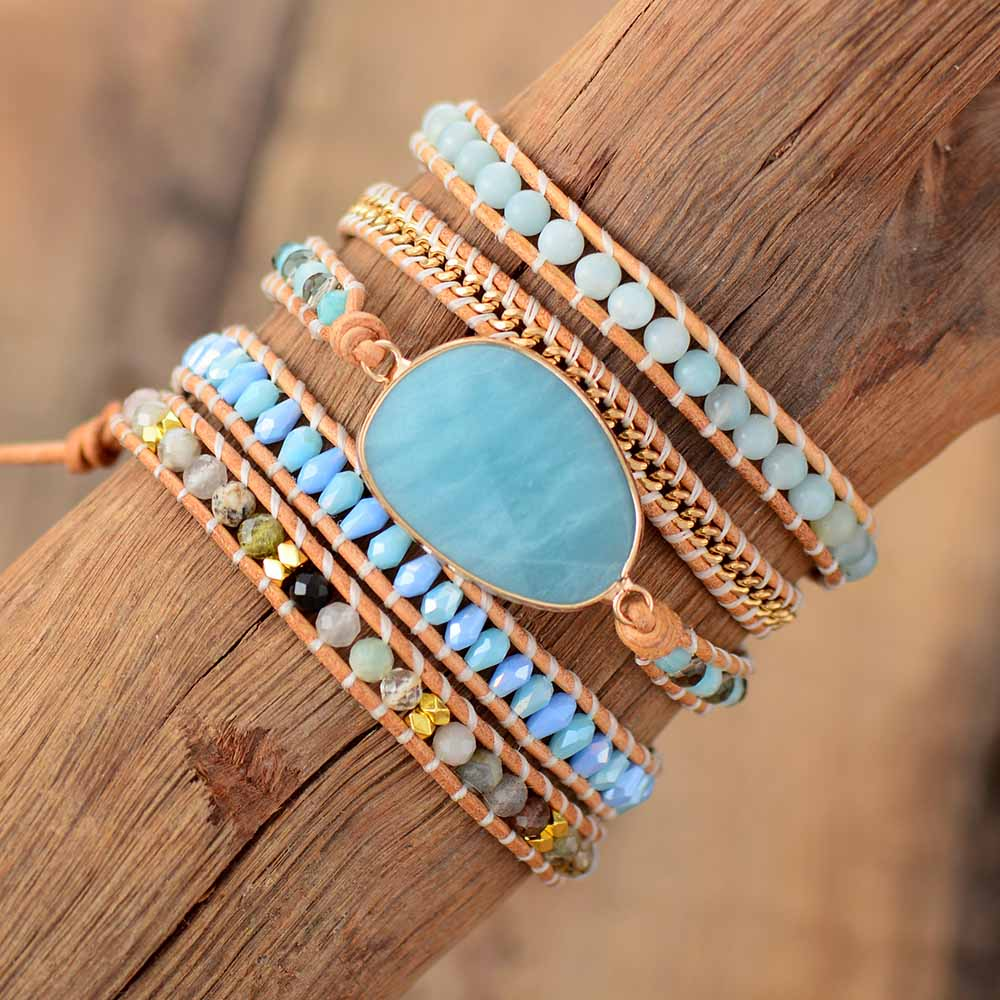 Exclusive Wrap Bracelets Jewelry Handmade Natural Stone Crystal Leather Wrap Bracelet Statement Cuff Bangles Bracelets Gifts