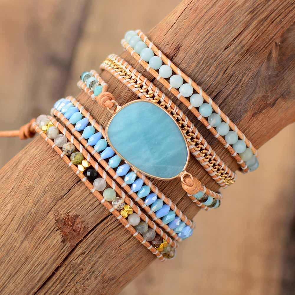 Exclusive Wrap Bracelets Jewelry Handmade Natural Stone Crystal Leather Wrap Bracelet Statement Cuff Bangles Bracelets Gifts|Strand Bracelets|   - AliExpress
