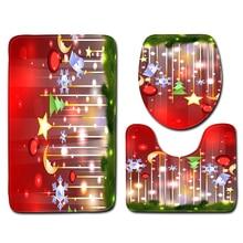 цена на 3PCS Christmas Toilet Cover Seat Non-Slip Bathroom Bath Mat Kitchen Doormats Snowman Pattern Decor Cover 45x75CM