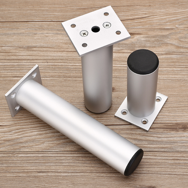Aluminum Support Leg Furniture Replacement Leveling Feet Round Tube Adjustable Table Cabinet Sofa Metal Foot Decorative Hardware