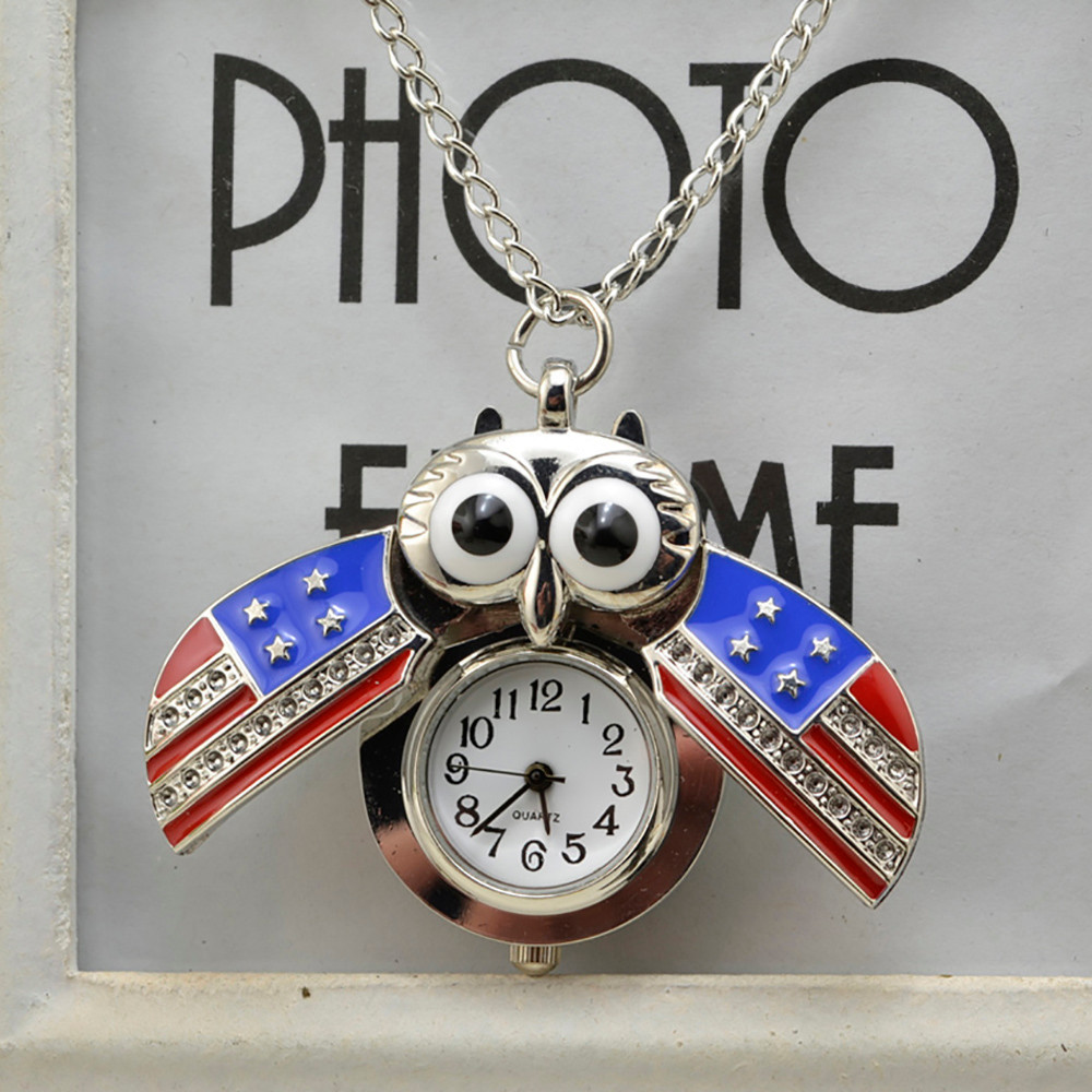H7460e9f5ebb0436ea01db236a8f95d6fU - Pocket Watch Vintage Style Retro Slide Owl Pendant Long Necklace Analog Pocket Watch Gift Bundy Party Watch gift