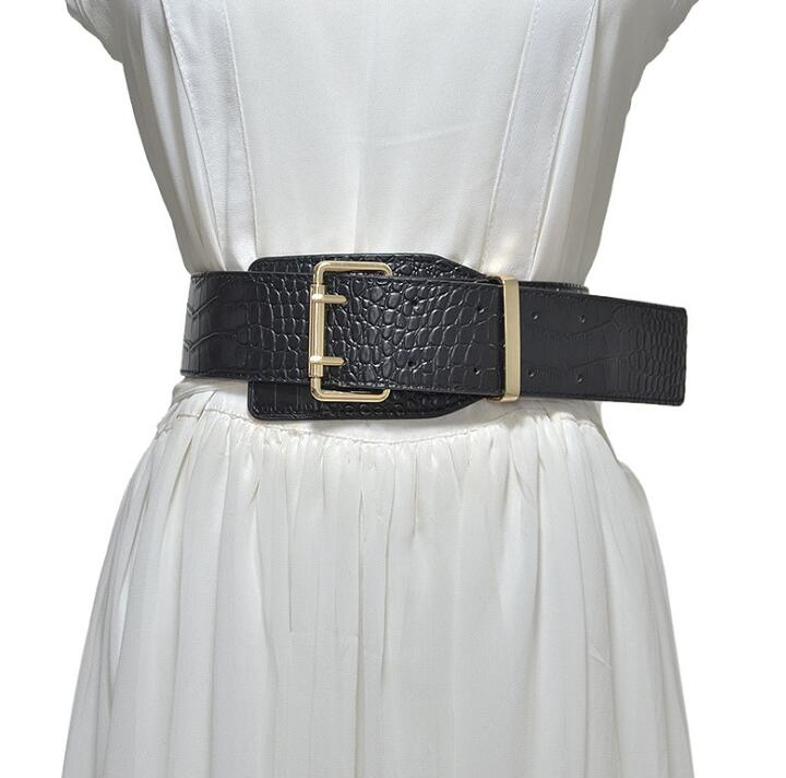 Women's Runway Fashion Pu Leather Cummerbunds Female Dress Corsets Waistband Belts Decoration Wide Belt R2389