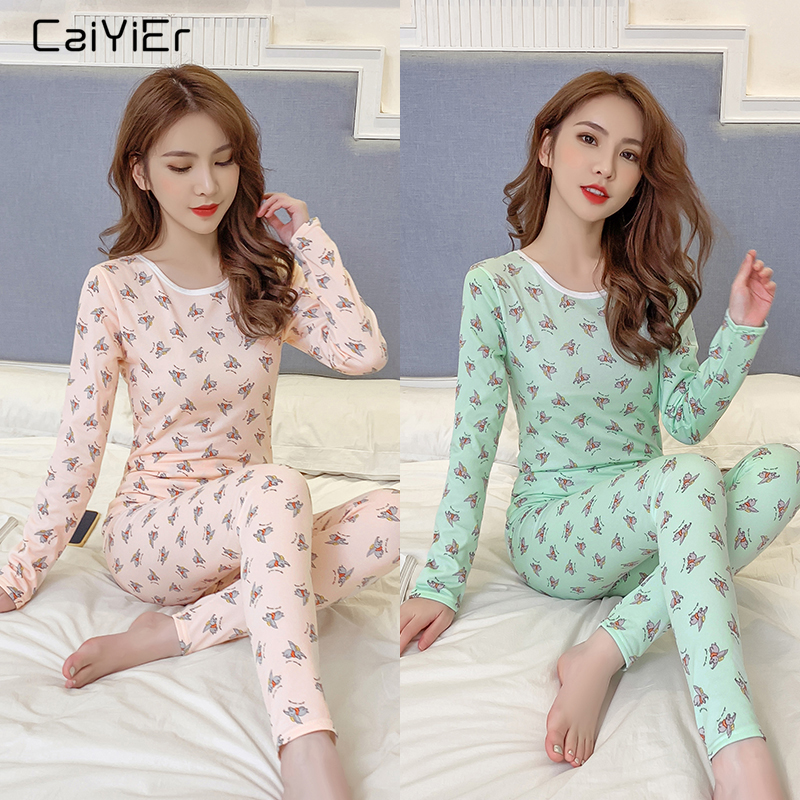 Caiyier Cartoon Cute Dumbo Print   Pajama     Set   Soft Thick Thermal Underwear Autumn Winter 2019 Warm Sexy Female Home Clothes S-XXL