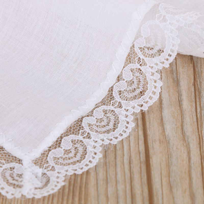 Cotton Lace Side Small Square Towel DIY Handmade White Handkerchiefs Hotel Tableware Decoration LX9E