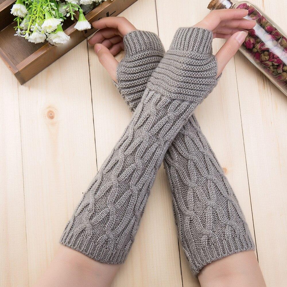 Mitten Fingerless Knit Twist Winter Warm Soft Fashion Warmer Lady Gloves Long Arm Casual Gloves For Women Autumn DropShipping