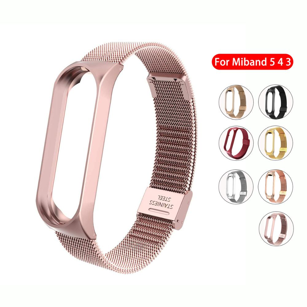 Metal Strap for Xiaomi Mi Band 6 4 3 5 Wrist Band Bracelet Screwless Stainless Steel Replacement Miband for Mi Band 4 Wristband