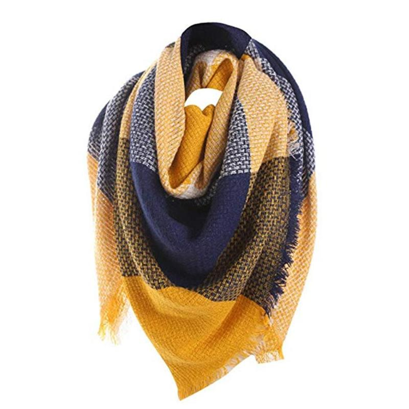 2019 New Woman Winter Scarf Knitted Plaid Warm Scarf Shawl Women's Wrap The Body Head Triangle Scarf Warm In Autumn Winter