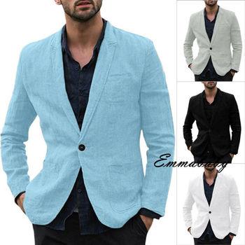 2019 New Men Casual Business Cotton And Linen Slim Fit Suit jacket Male Spring Autumn Blazer Masculino Large Plus Size M-3XL