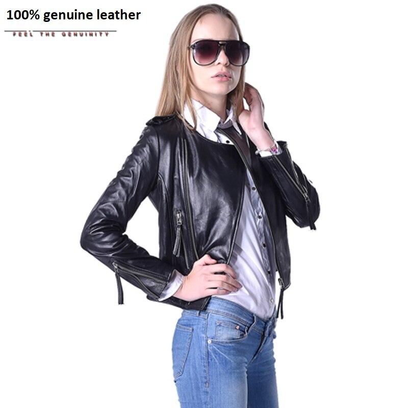 Women Leather Jacket 100% Genuine Sheepskin Lambskin O-Neck Black Short Female Coat Spring Autumn Plus Size 5XL 046