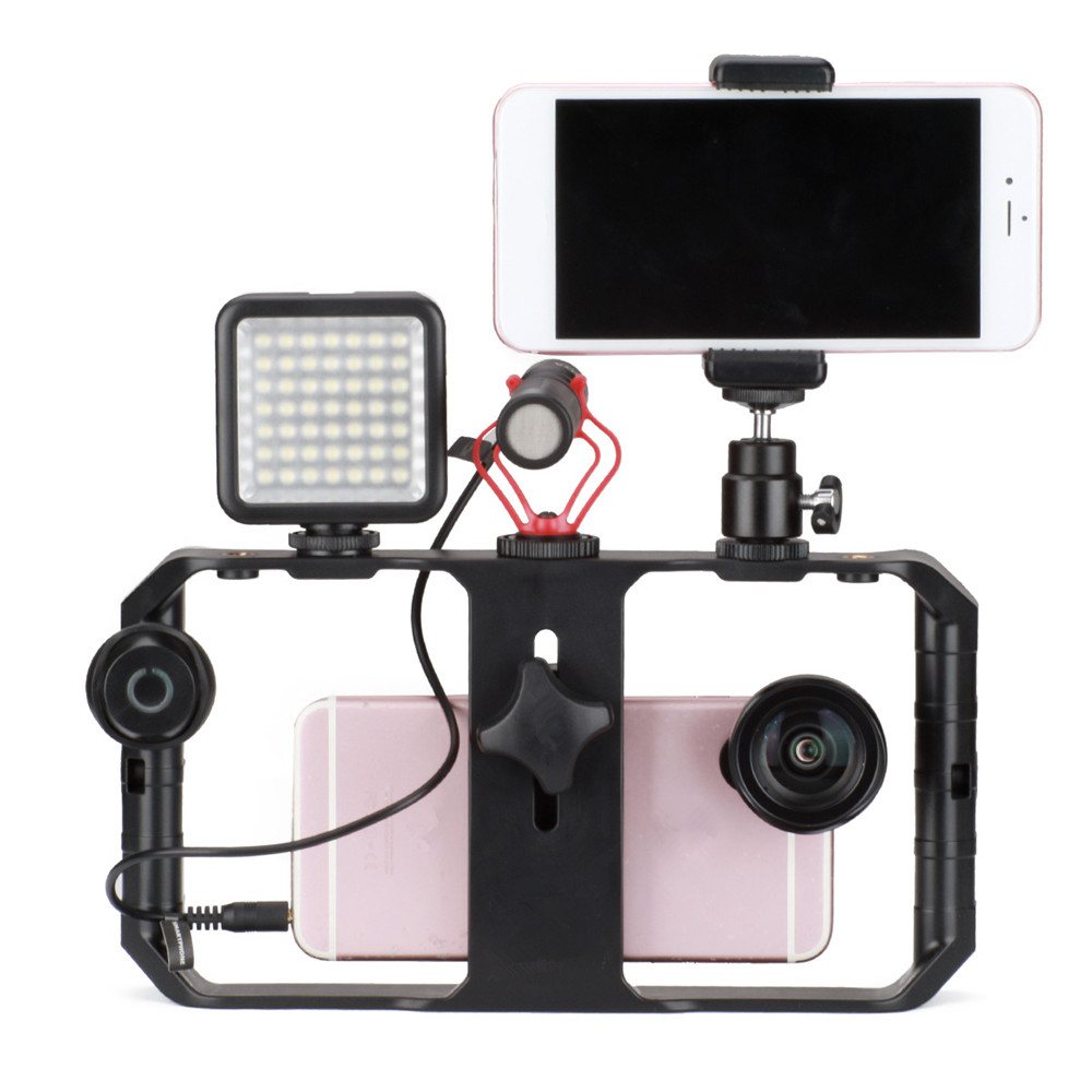 Case Video-Recording Filmmaking Filming-Accessories Pro with 3-Mounts Cell-Phone-Stabilizer