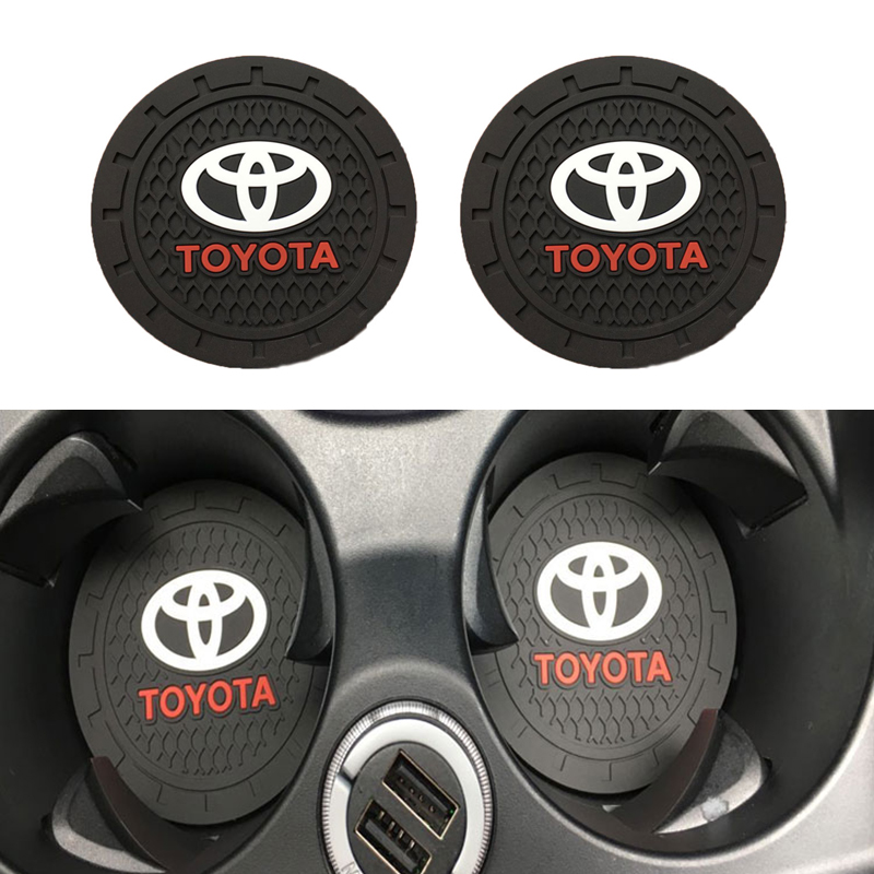 2pcs 7cm Car Interior Carpet Water Coaster Silicone Pad Car Anti-dirty Pad For Toyota Corolla Rav4 Camry Yaris Crown Accessories