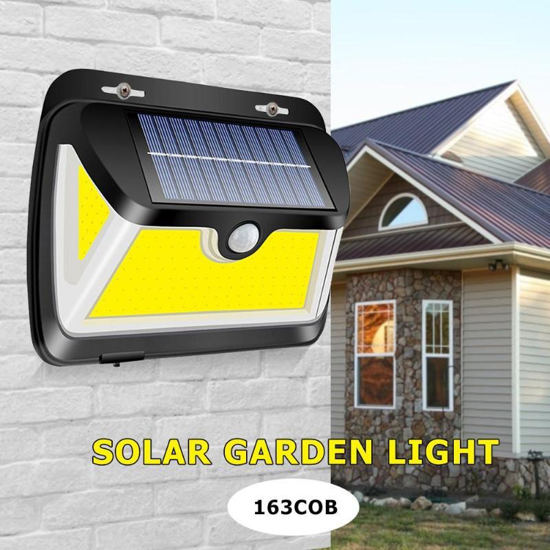 2019 New 163LEDs COB LED Wall Lamp Motion Sensor Waterproof 3 Sided Flood Lights Garden Street Night Lighting Solar Wall Light