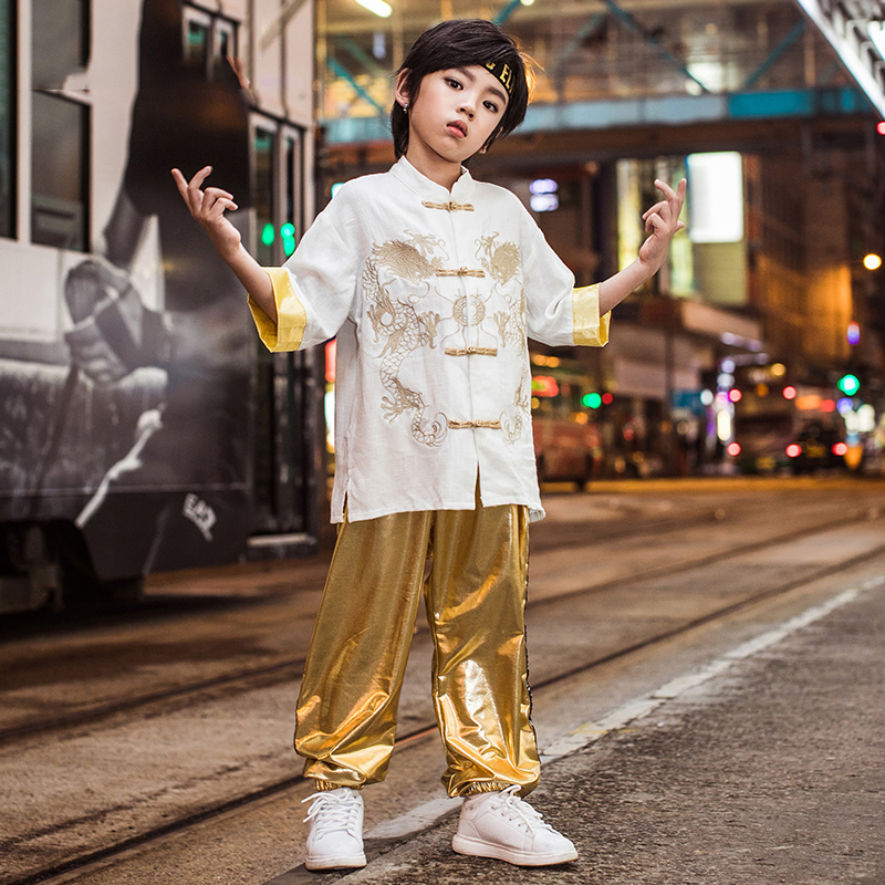 Children Hip Hop Clothing Kids Chinese Style Jacket Pants For Boys Modern Jazz Dance Costume Ballroom Dancing Clothes Outfits