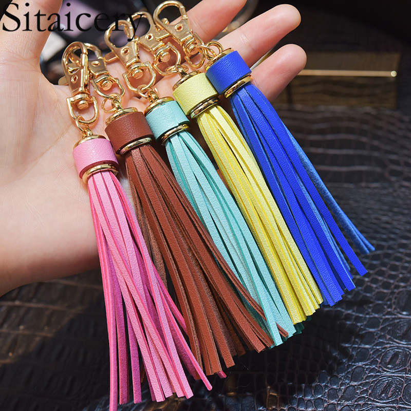 Sitaicery New Fashion Tassel Key Chain Women Cute Tassel KeyChain Bag Accessory PU Leather Tassels Car Key Ring Fringe Jewelry