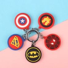 цена 3D Cartoon Keyring PVC Marvel Avengers Keychain Cute Superhero Batman Spider Man Key Chain Key Ring Kids Key Holder  Trinket онлайн в 2017 году