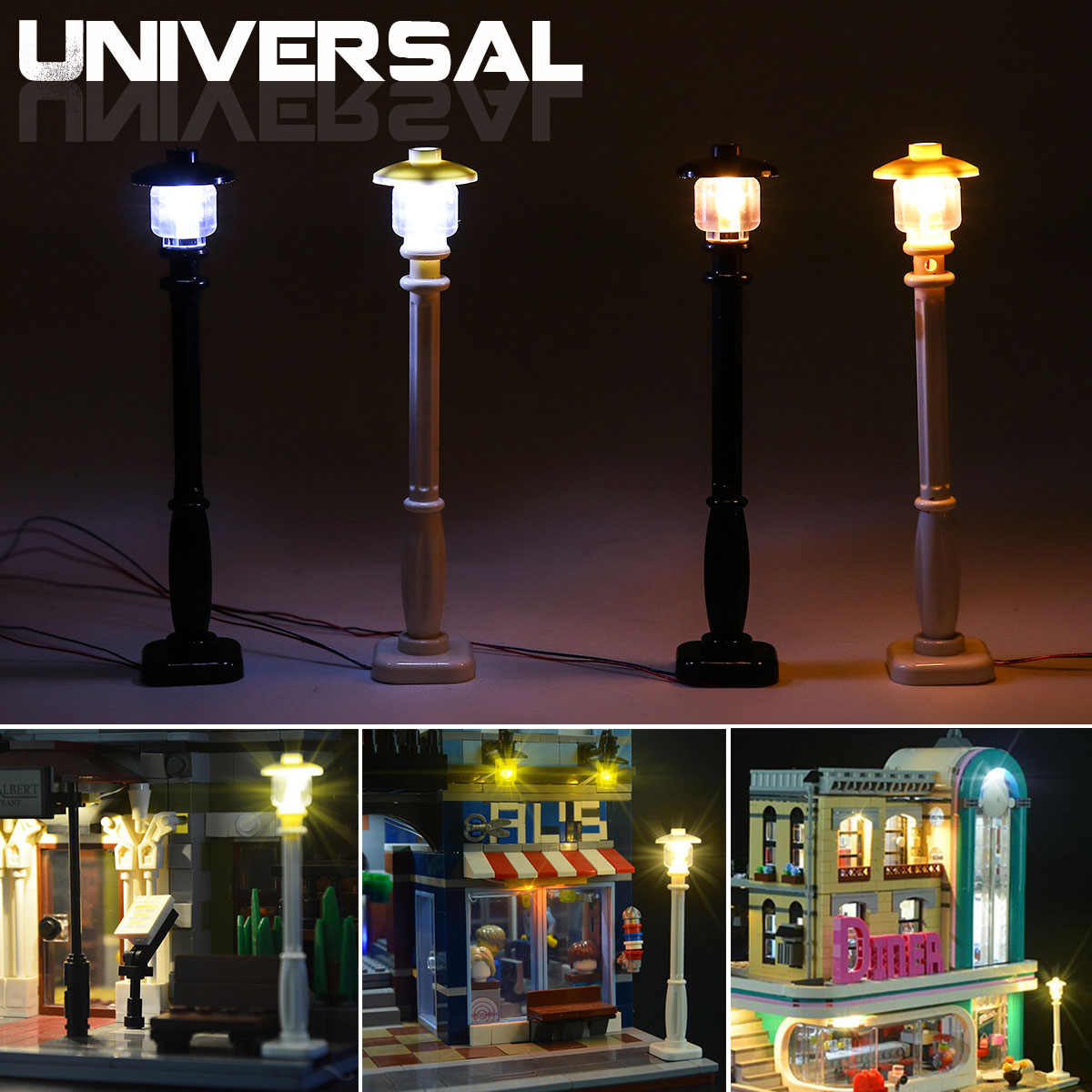 DIY LED Light Lamp Post Lantern for Lego for Street Building Shop Model Building Toy Bricks (Model Not Included) Universal