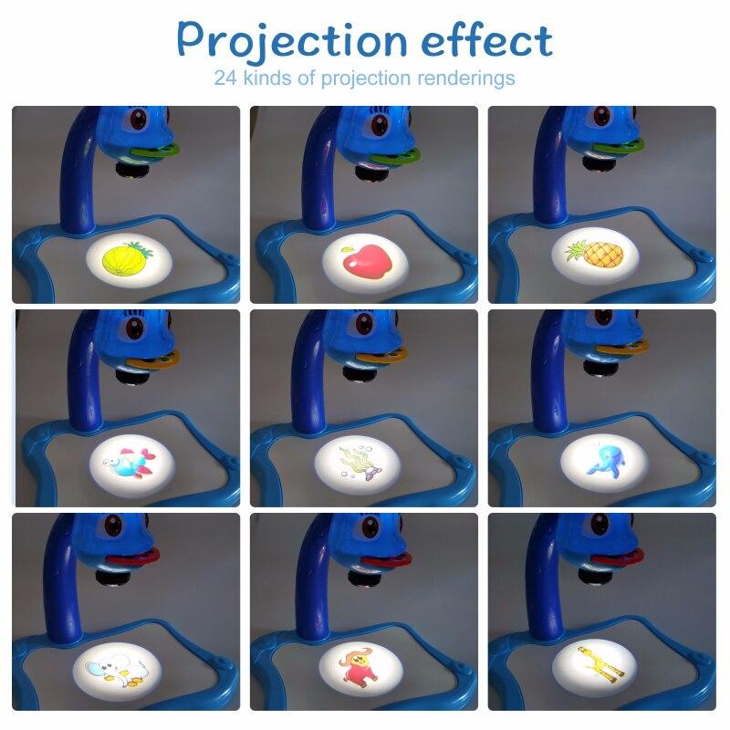 Mesa de brinquedo infantil com projetor de led, mesa de desenho e arte para crianças mesa de pintura artesanato educacional ferramentas de pintura para meninas 4