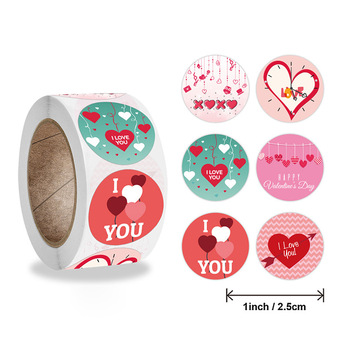 1 Roll Valentine Day Sticker Adhesive Gift Packing StickerDIY Crafts Decorative Tapes Heart-shaped Stickers for Bar Party Store image