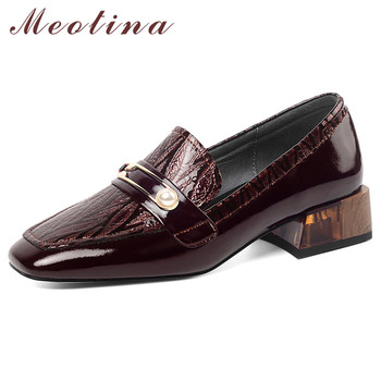 Meotina High Heels Women Shoes Natural Genuine Leather Pearl Thick Heel Loafers Shoes Real Leather Square Toe Pumps Lady Size 42