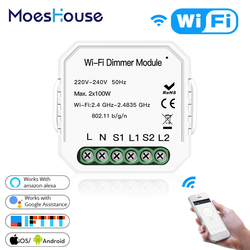 2 Gang DIY WiFi Smart 2 Way Light LED Dimmer Module Switch Smart Life/Tuya APP Remote Control Work With Alexa Google Home