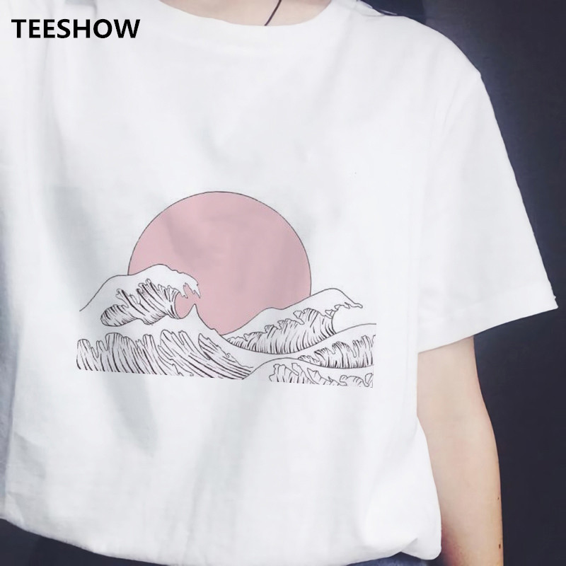 Japanese Style T-shirts Women Printed Sunset Over The Sea Harajuku White Short Sleeve Casual Tshirt Summer 2020 Tee Shirt Female