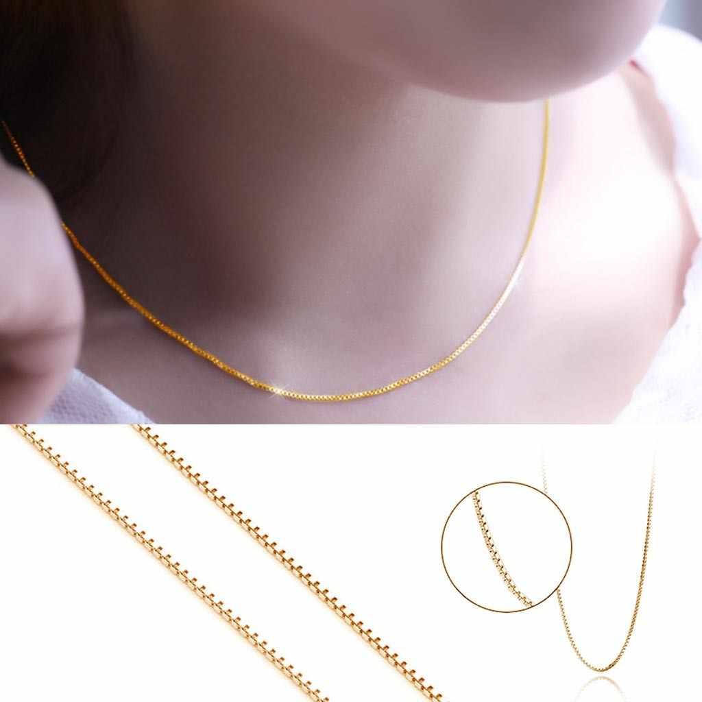 เกาหลีสไตล์ใหม่สร้อยคอ 24K Gold มาก Thin0. 8 มม.สร้อยคอสร้อยคอ 16 นิ้วโซ่จี้สร้อยคอหญิง