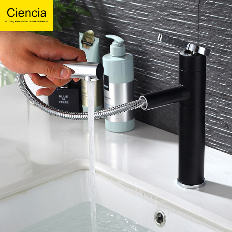 Permalink to Bathroom Vanity Leading Short-Drop-in Sink Hot And Cold Faucet Black And White with Pattern Pulling Rotatable Tap