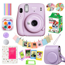 Rosa/azul/cinza/branco/roxo fujifilm instax mini 11 câmera + 20 folhas instax mini filme branco + caso saco + álbum + acessórios conjunto
