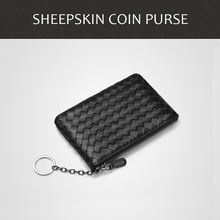 Sheepskin Knitted Key Bag Zipper Zero Purse Ladies Short Wallet Real Leather Handset With Coin Bag Credit ID Business Bank Card