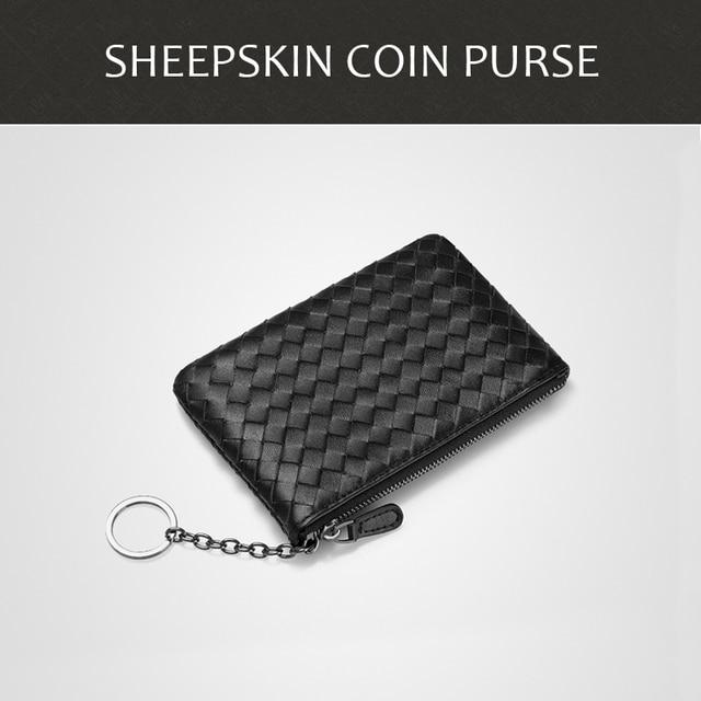 Z owczej skóry z dzianiny futerał na klucze na zamek błyskawiczny portmonetka panie portfel prawdziwe skórzane słuchawki z portmonetka na kartę kredytowa, dowód osobisty kart bankowych dla ludzi biznesu