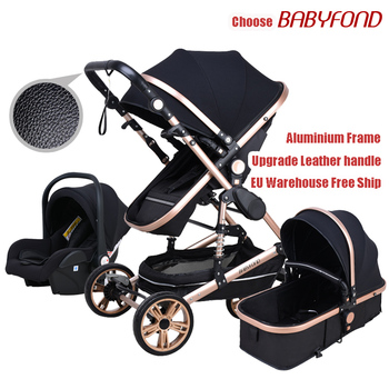 Babyfond Baby stroller high landscape baby Cart  3 in 1 baby  stroller with car seat 2 in 1 baby stroller CE safety high landscape baby stroller can sit reclining folding light two way four wheel shock absorber baby stroller