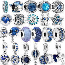 Hot Sale 100% 925 Sterling Silver Spring New Blue Dangle Charms Fit Original Pandora Charm Bracelet DIY Jewelry