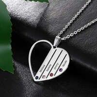 Персонализированное ожерелье с 4 именами, ожерелье с подвеской в виде сердца, изготовленное на заказ, ожерелье из нержавеющей стали, ювелирн...