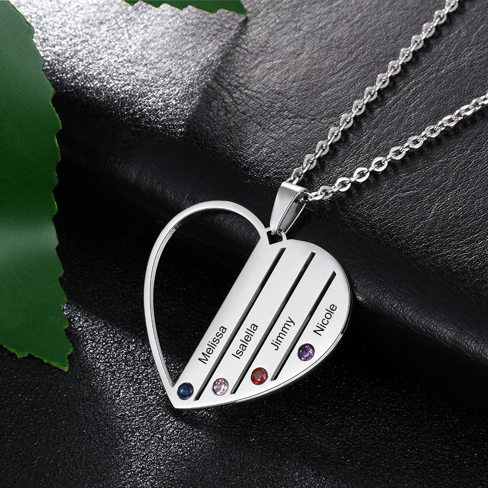 Personalized Engraved 4 Names Heart Necklace Pendants Custom Birthstone Stainless Steel Necklace Jewelry For Women Mom Family