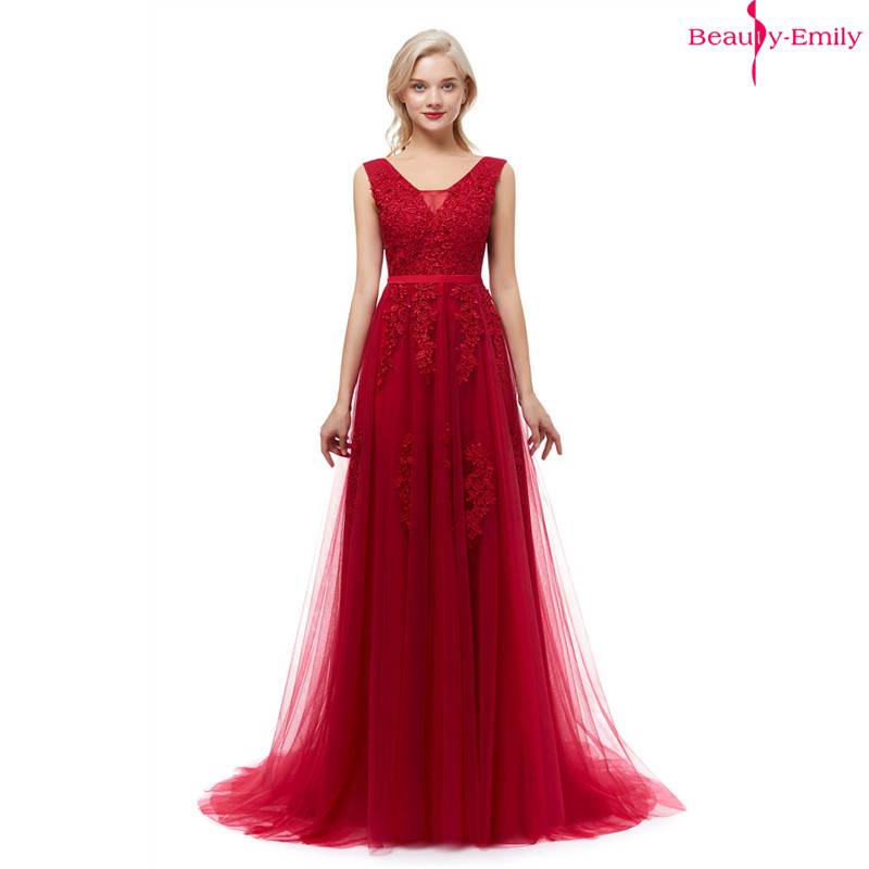 Beauty Emily Lace V-neck Long   Evening     Dresses   2019 Sexy Open Back Prom Gowns Tulle Sleeveless Pleated Party   Dress   robe de soiree