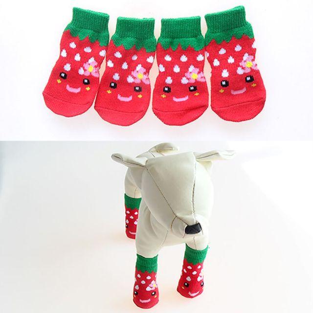 Фото 4 шт/компл милые вязаные носки для собак хлопковая противоскользящая