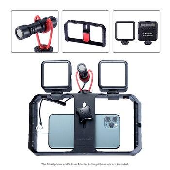 Ulanzi U-RIG Pro handheld Cold Shoe Bracket +2 pcs VL49 Led Video Light+Q1 On-camera microphone Vlog Bundle for Android iphone