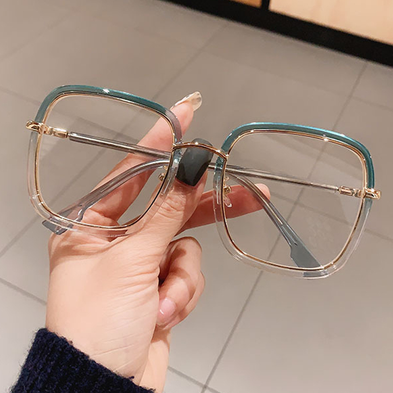 Green Clear Print Square Anti blue Light Eyeglasses For Women Alloy Leopard Oversize Computer Myopia Glasses Frame Female Shades