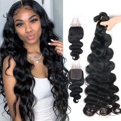 32 30 дюймов перуанские волнистые волосы 3 пучка с застежкой человеческие волосы пучки с застежкой кружевная застежка Remy человеческие волосы ...