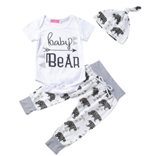 AmzBarley Baby Boys clothing set Newborn Cotton tops rompers Bear trousers hat infant baby summer Autumn clothes for 6M-24M