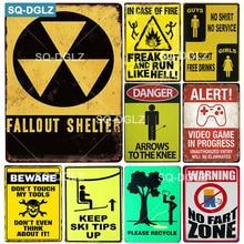 [SQ-DGLZ] FALLOUT SHELTER cartel de Metal Vintage Placa de PLACA de Metal decoración de pared señales de peligro lata Beware Poster regalo