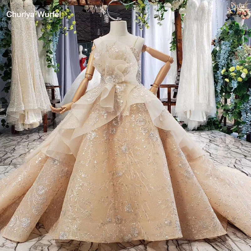 HTL0580 Vintage Dress First Communion Girl Champagne Color Beads Lace Up Back Girl's Evening Dress Vestidos De Comunion 2020