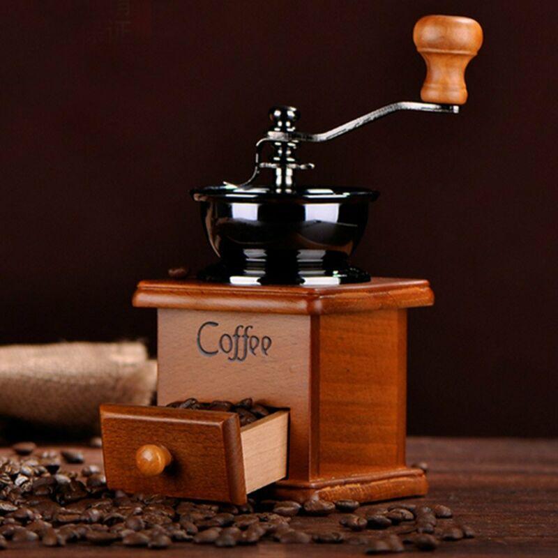 2020 Vintage manuel manivelle en bois métal café poivre herbe moulin moulin à épices réglable grosseur café moulin à main