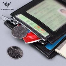 Leather genuine men zipper short wallet men Cowhide